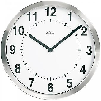 Atlanta 4278 wall clock quartz analog silver round plastic with metal frame