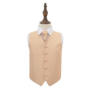 Champagne Solid Check Wedding Waistcoat & Cravat Set for Boys