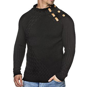 TAZZIO men's Chunky knit sweater with high collar black