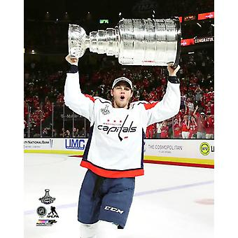 Andre Burakovsky with the Stanley Cup Championship Trophy Game 5 of the 2018 Stanley Cup Finals Photo Print