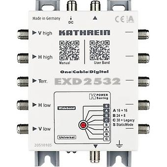 Kathrein EXD 2532 SAT single cable multiswitch Inputs (multiswitches): 5 (4 SAT/1 terrestrial) No. of participants: 32