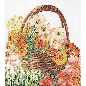 Flower Basket On Aida Counted Cross Stitch Kit-13.5