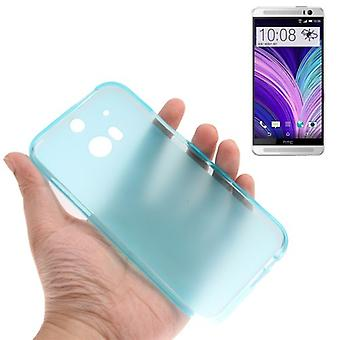 Translucent TPU case cover for HTC one 2 M8 light blue
