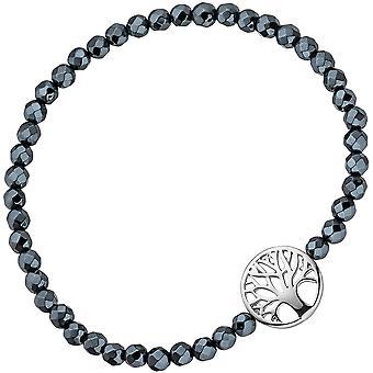 Bracelet life tree 925 sterling silver with Hematite Black flexible