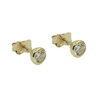 Plug 5mm cubic zirconia round 9Kt GOLD