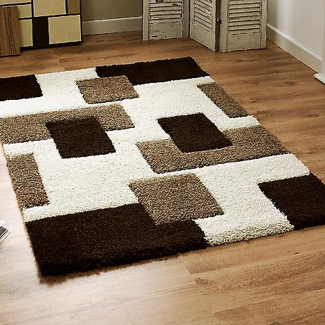 Fashion Carving 7646 Ivory-Brown Ivory, light brown and chocolate brown squares Rectangle Rugs Modern Rugs