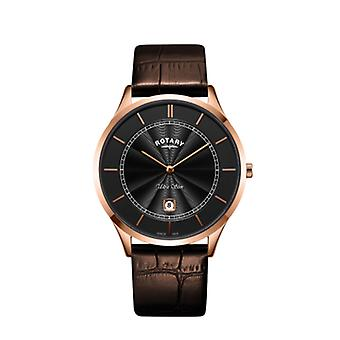 Rotary Mens Ultra Slim Rose Gold Brown Leather Strap GS08404/04 Watch