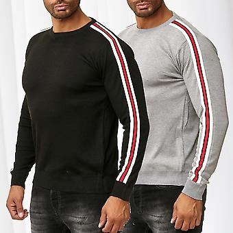 Mens Pullover Striped Fine Knitted Retro Longsleeve Sweat Shirt Casual