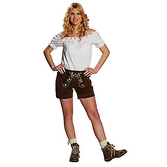 Leather trousers women's light brown sexy Oktoberfest pants Bavaria costume for women