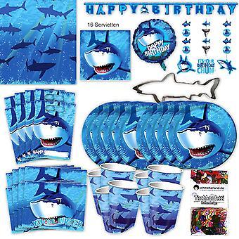 Tiburón tiburón Seleciona XL 65-teilig 8 huéspedes tiburón fiesta cumpleaños paquete