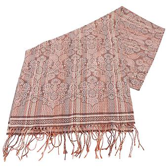 Bassin and Brown Bush Willow Stripe Flower Scarf  - Brown/Camel