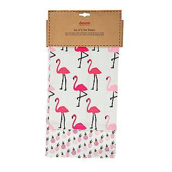 Dexam Set of 2 Tea Towels, Flamingo Pink