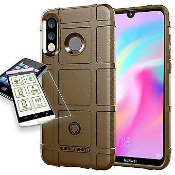 Für Huawei P30 Lite Shield Case TPU Silikon Braun + 0,26 mm 2.5D H9 Hartglas Tasche Hülle Cover Hülle