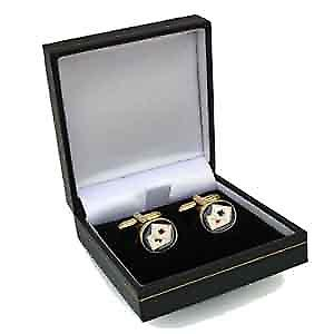 Hard Gold Plated 14x12mm oval Poker swivel Cufflinks