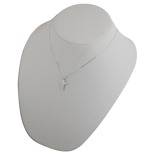 Silver 20x12mm plain solid block Cross with a curb Chain 18 inches