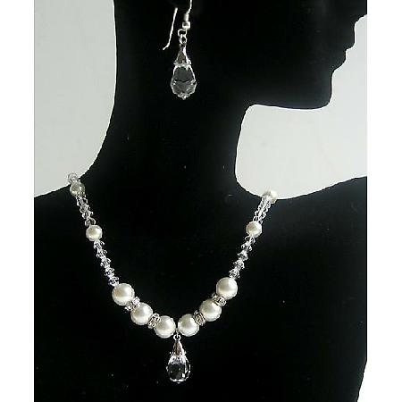 Bridal Party Swarovski Clear Crystals Pearls Necklace Teardrop Earring