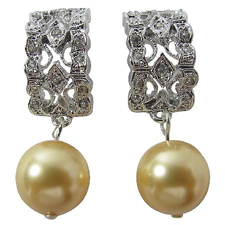 Perfect Bridal Earrings Yellow Pearl Rhinestones