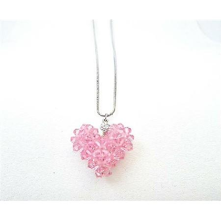 Romantic Valentine Gift Lite Rose Crystals Puffy Heart Pendant Jewelry