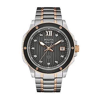 Bulova Marine Star svart urtavla diamanter Mens Watch 98D127 47 mm