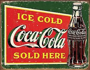 Coca Cola Ice Cold Bottle (pers) steel wall sign  (de)