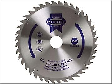 Faithfull Circular Saw Blade TCT 235 x 16/20/30/35mm x 40T Fine Cross Cut