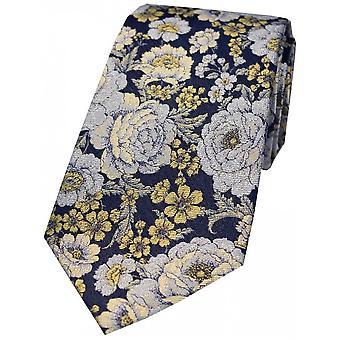 Posh i Elegant kwiatowy Jedwabny krawat - Navy/złoto/srebro