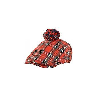 Union Jack Wear Scottish Red Tartan Pom Flat Cap