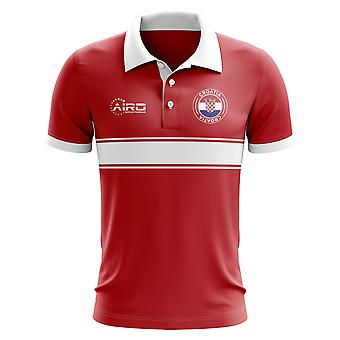 Croatia Concept Stripe Polo Shirt (Red)