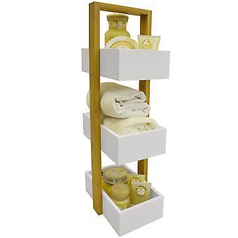 Eche - 3 Tier badrum Förvaringshylla / Caddy / korg - vit / bambu
