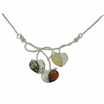 Toc Sterling Silver Amber Multicolour 3 Apples on a Branch 18 Inch Necklace