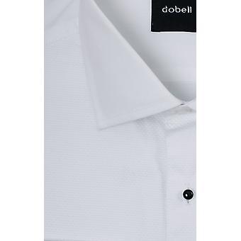 Dobell Mens White Marcella Abendkresse Shirt Regular Fit Standard Collar Stud Button Front