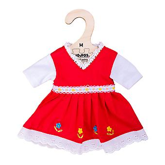 Bigjigs Toys Red Dress with Floral Trim (Medium - 30cm)