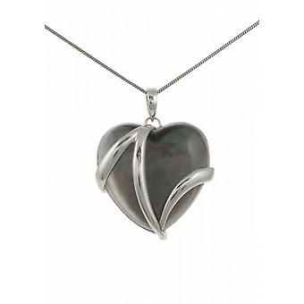 "Cavendish French Sterling Silver and Dark Mother of Pearl Heart Pendant with 16 - 18"" Silver Chain"