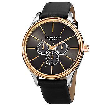 Akribos XXIV Men's Quartz Multifunction Leather Gold-Tone Strap Watch AK870YGB