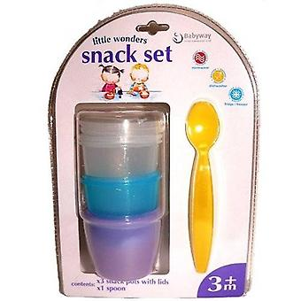 Little Wonders Snack Set - 3 Snack Pots With Lids And 1 Spoon