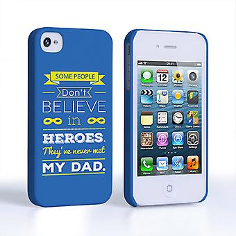 Caseflex Dad Heroes Quote iPhone 4 4S Case Blue