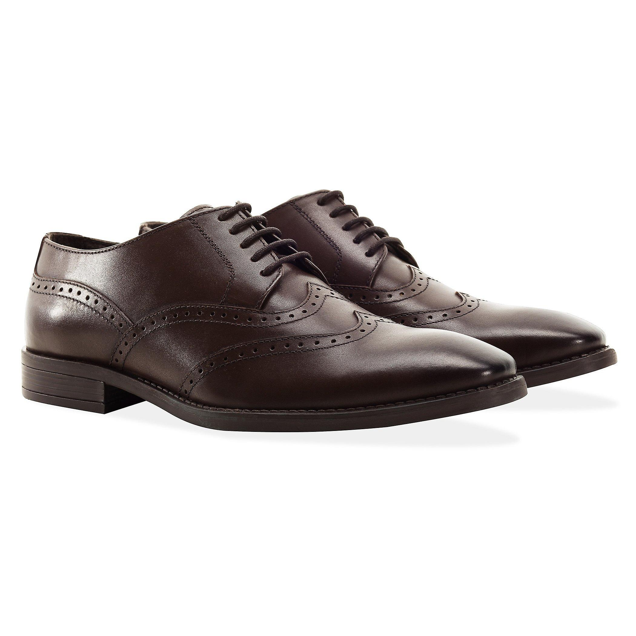 Mens marron double wing tip chaussures