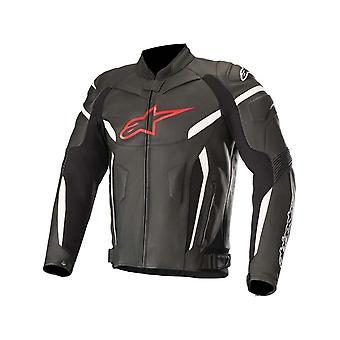 Alpinestars Black-Red-Fluorescent GP Plus R V2 Motorcycle Leather Jacket