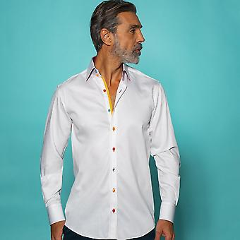 Claudio Lugli Classic Plain Shirt With Rainbow Stripe Insert