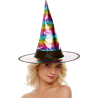 Womens Halloween Rainbow Witch Hat
