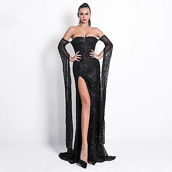 High slit black gown