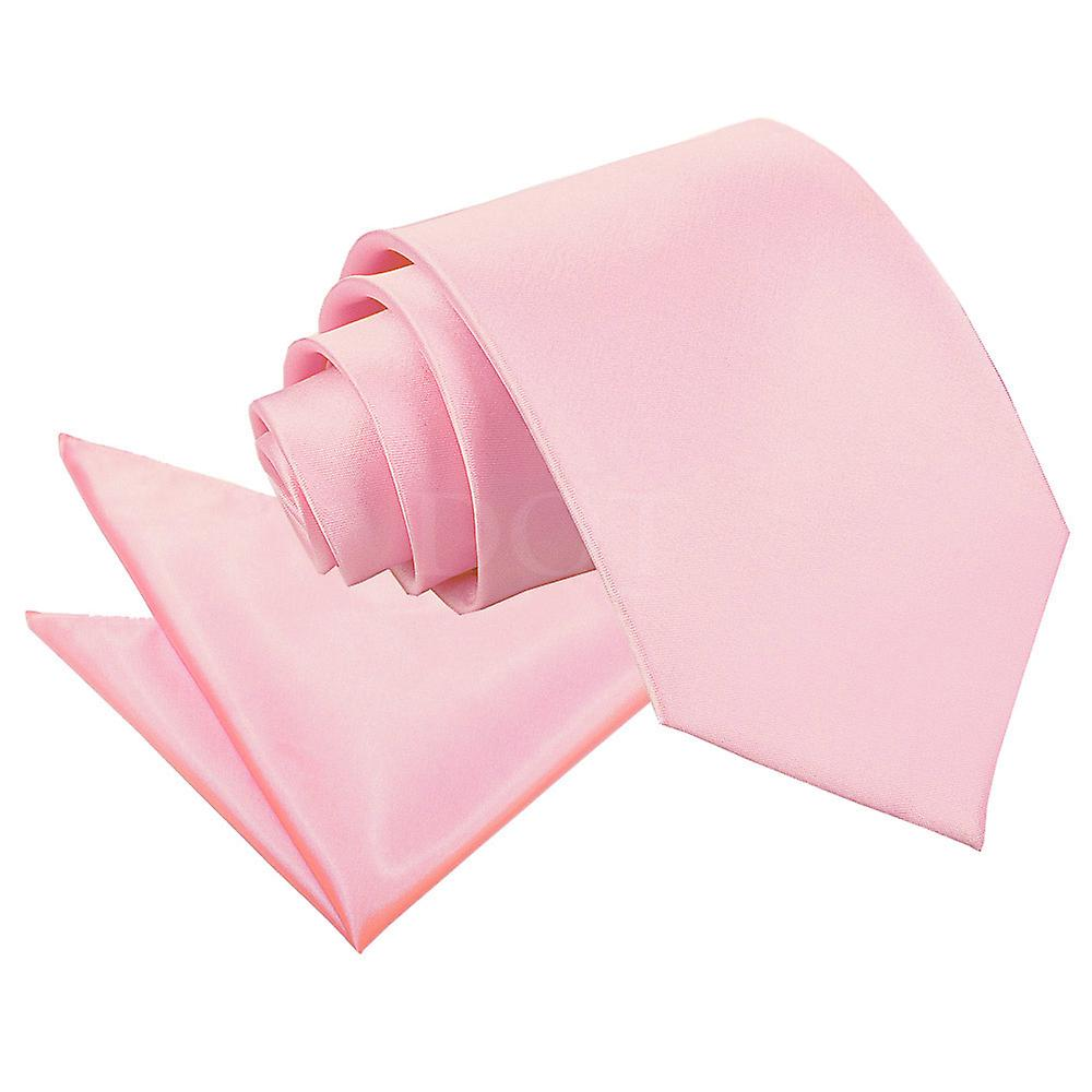 Plain Baby Pink Satin Tie 2 pc. Set