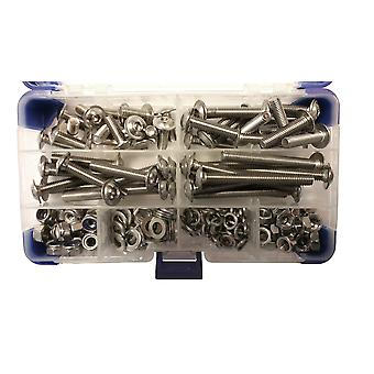 217 Piece M6 Stainless Steel Socket Flanged Button Machine Screws with Nuts and Washers