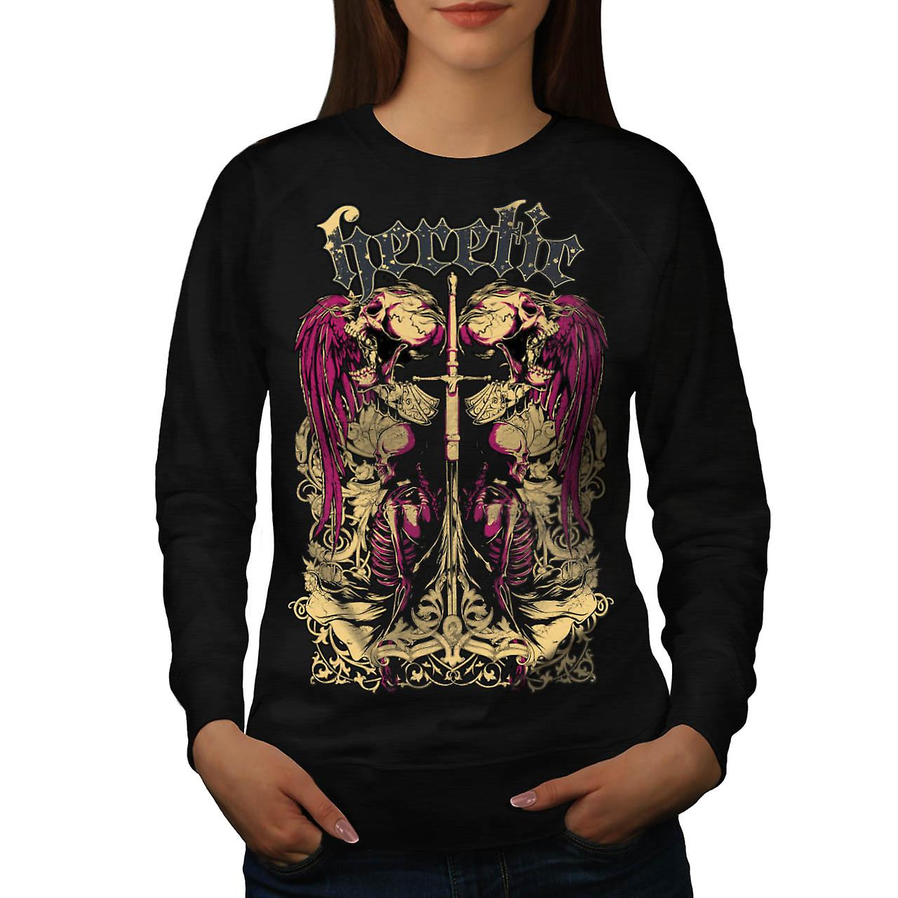 Heretic Monster Death Dead Skull Women Black Sweatshirt | Wellcoda