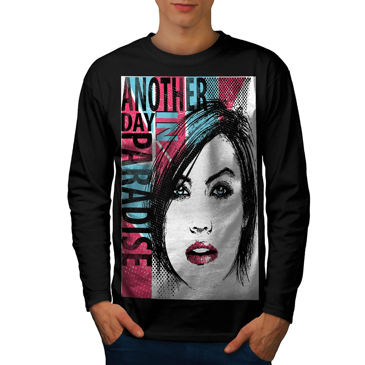 Another Day Paradise Live Dream Men Black Long Sleeve T-shirt | Wellcoda