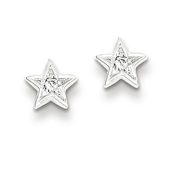Sterling Silver Diamond Star Post Earrings - .05 dwt