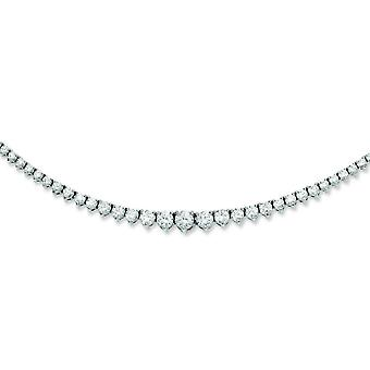 Sterling zilveren Rhodium Plated met CZ halsketting - 17 Inch