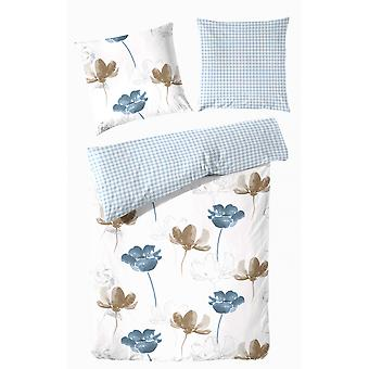 ROOSTER fine Beaver reversible bed linen 140 x 200 cm flowers and diamonds