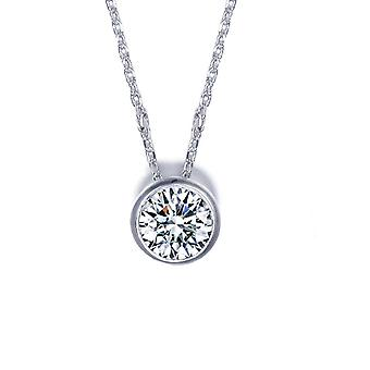 18K White Gold Plated Classic 1 Carat Cubic Zirconia Solitaire Pendant