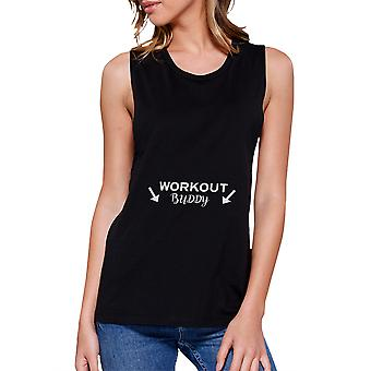 Workout Buddy Black Muscle Tank Top Work Out Sleeveless Muscle Tee